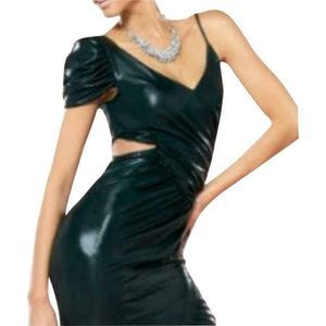 Bebe One Shoulder Shiny Black Ruched Dress Medium